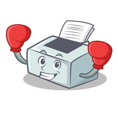 Boxing printer character cartoon style