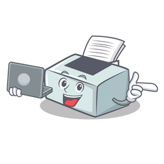 With laptop printer character cartoon style