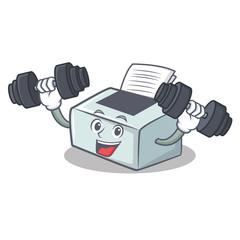 Fitness printer character cartoon style