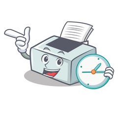 With clock printer character cartoon style