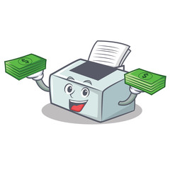 With money printer mascot cartoon style