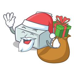 Santa with gift printer mascot cartoon style