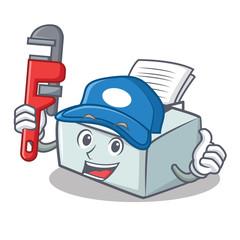 Plumber printer mascot cartoon style