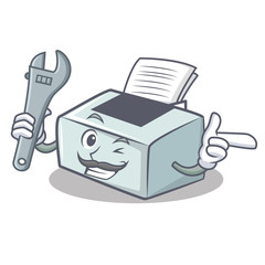 Mechanic printer mascot cartoon style