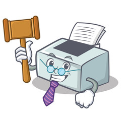 Judge printer mascot cartoon style