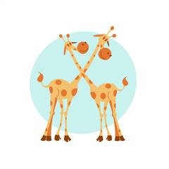Two giraffe. Vector illustration. Cute cartoon giraffes.