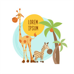 The African animals. Giraffe and Zebra standing under a palm tree. Vector illustration. Isolated on a white background.