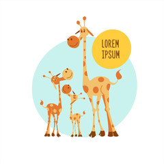 The African animals. Three giraffe. Mother giraffe and two baby. Vector illustration. Isolated on a white background.