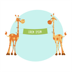 African giraffes hold the banner. You can also add text. Vector illustration. Isolated on white background
