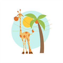 Africa clipart. A lone giraffe stands under a palm tree. Vector illustration. Isolated on a white background.