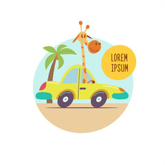 Giraffe rides in a vintage car among the palm trees. Beautiful journey Safari in Africa. Vector illustration. Isolated on a white background.