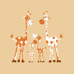 Africa clipart. Family of giraffes. Giraffe mom, dad and baby giraffe. Vector illustration. Isolated on a white background.