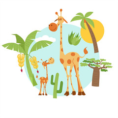 Africa. Animals and nature of Africa. Cute giraffes, palm trees, cacti, bananas, baobab. Vector illustration. Isolated on white background.