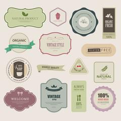 set of natural label and organic banner.vintage labels and badges design.