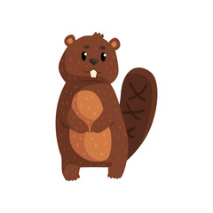 Cute brown beaver standing isolated on white. Cartoon forest rodent with big teeth, shaped tail, little ears and shiny eyes. Wild animal concept. Flat vector design