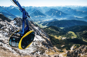 Cable car or gondola to mountain peak of Dachstein glacier in Austrian Alps Wall mural