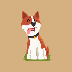 Colorful welsh corgi on green lawn. Adorable puppy sitting with tongue hanging out. Cartoon character of domestic dog. Flat vector for print, postcard or sticker