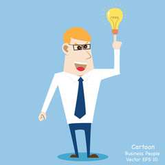 Business cartoon people get Idea, Vector Illustration EPS 10.