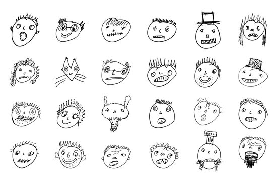 doodled funny stick figure faces