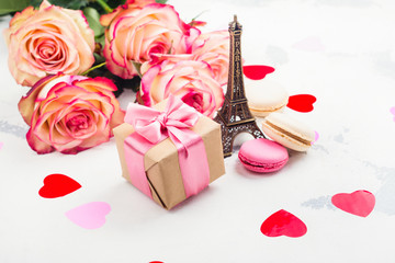 Valentines day background with roses, eiffel tower and decorative hearts