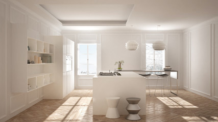 Modern kitchen furniture in classic room, old parquet, minimalist architecture, white interior design