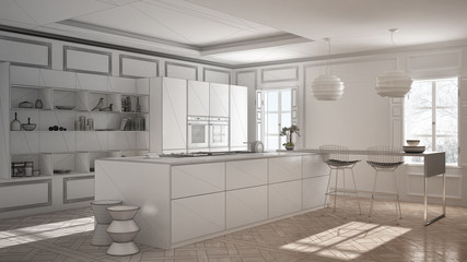Unfinished project of modern kitchen furniture in classic room, old parquet, minimalist architecture interior design