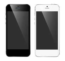 black and white smartphones with a dark screen on a light background