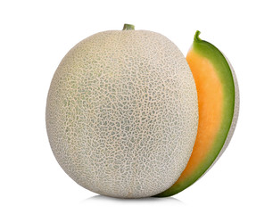 whole cut of japanese melons, orange melon or cantaloupe melon with seeds isolated on white background