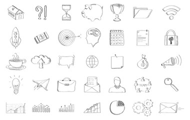 Black hand drawn web icons set