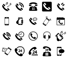 Black phone vector icons pack