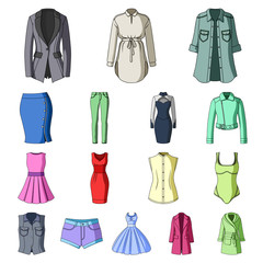 Women's Clothing cartoon icons in set collection for design.Clothing Varieties and Accessories vector symbol stock web illustration.
