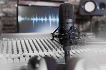 condenser microphone on recording studio background. music, singing, recording concept