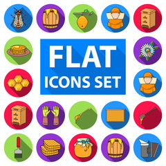 Apiary and beekeeping flat icons in set collection for design.Equipment and production of honey vector symbol stock web illustration.
