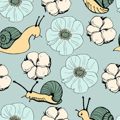 Vector seamless pattern with flowers and snails