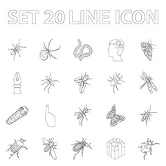 Different kinds of insects outline icons in set collection for design. Insect arthropod vector isometric symbol stock web illustration.