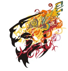 Growling tiger head colorful splashes. Aggressive tribal tiger head with an open jaw in bright tones with elements of a wing and linear patterns on a white background