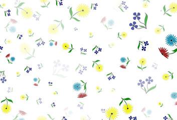 иллюстрация с рисунком разноцветных цветов на белом фоне