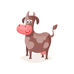 Funny brown spotted cow, cute milk cow cartoon vector Illustration