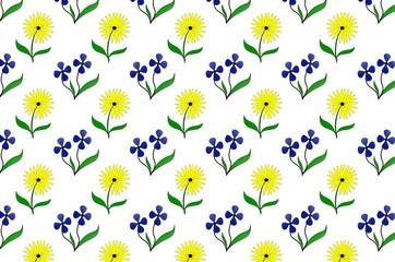 бесшовная иллюстрация с рисунком разноцветных цветов на белом фоне