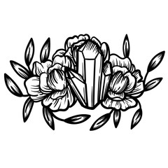 Crystal with peony flowers. Beautiful illustration with crystal quartz and flowers.