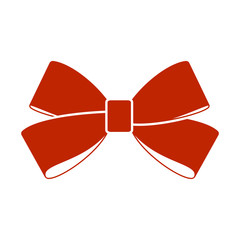 Red bow isolated on white background.  Vector image.