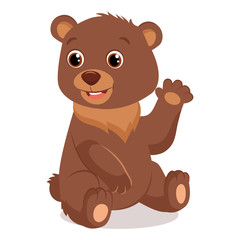 Spoed Foto op Canvas Kids Cute Happy Little Bear Vector Illustration. Teddy Bear Waving Hand. Cartoon Vector Character On White Background.