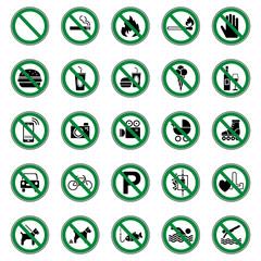 25 Verbots- & Warnschilder (Grün)