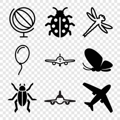 Set of 9 fly filled and outline icons