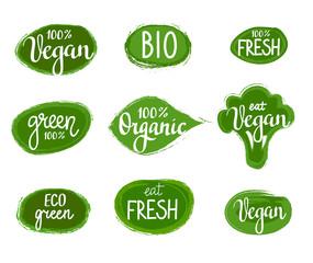 Vector lettering eco green nature organic vegan badges set