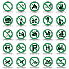 25 Verbots- & Warnschilder (in Grün)