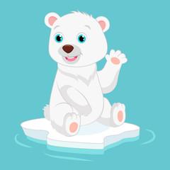 Printed kitchen splashbacks Fairytale World Cute Happy Little Polar Bear Vector Illustration. Smiling Polar Bear Waving Hand. Cartoon Vector Character.