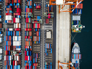 Container ship and port