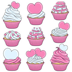 Set of color vector cupcakes with hearts. Isolated objects on white.