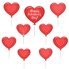 A set of red balloons in the shape of a heart with a text about love and with various stripes.